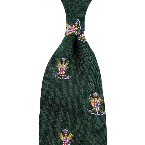 7-Fold Crest Boucle Silk Tie - Forest - Hand-Rolled