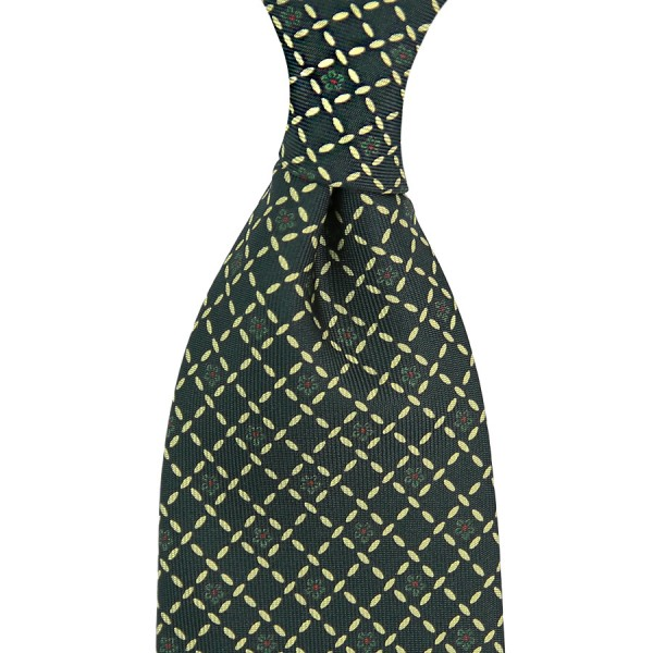 Floral Printed Silk Tie - Madder Green II - Handrolled