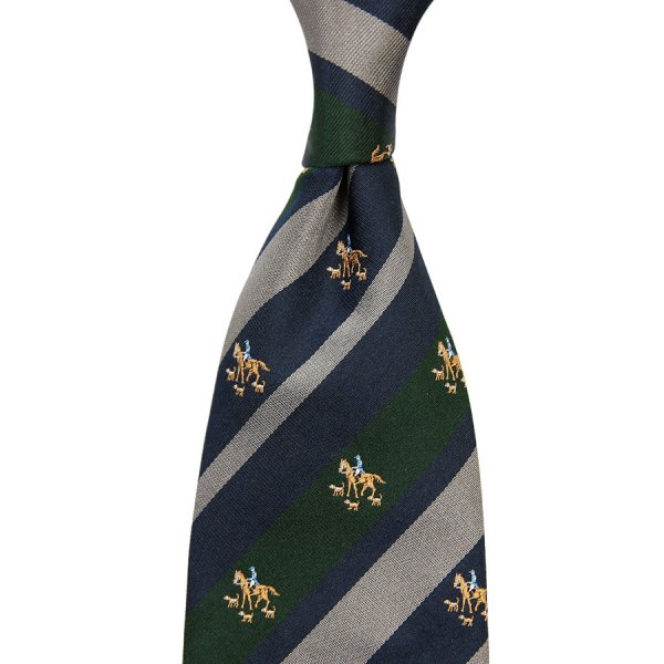 Crest Repp Silk Tie - Navy / Forest / Grey - Hand-Rolled