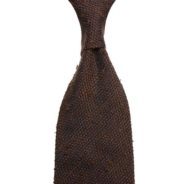 Shantung Grenadine Silk Tie - Brown - Hand-Rolled