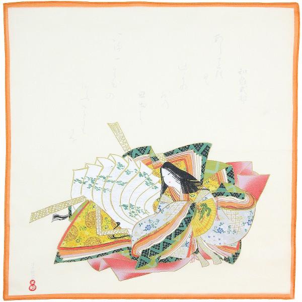 Japanese Motif Cotton Handkerchief - Coral