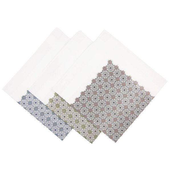 Floral Motif Cotton Handkerchief Set - White