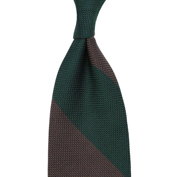 Block Stripe Grenadine / Garza Piccola Silk Tie - Forest Green / Brown