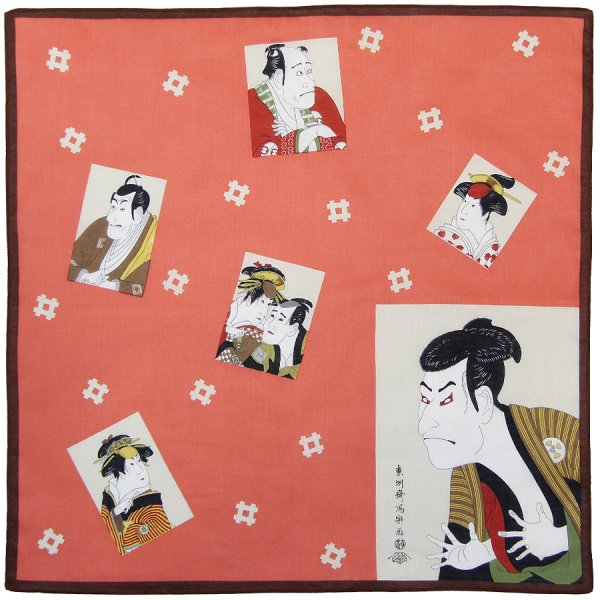 Ukiyo-e Cotton Handkerchief - Brown / Red