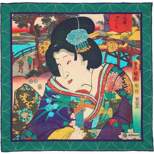 Ukiyo-e Silk Pocket Square - Edo No Hana - Handrolled - 40 x 40cm