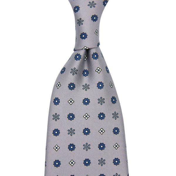 Floral Printed Silk Tie - Grey - Hand-Rolled