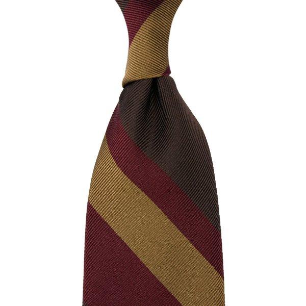 Striped Super Repp Silk Tie - Brown / Burgundy / Beige - Hand-Rolled