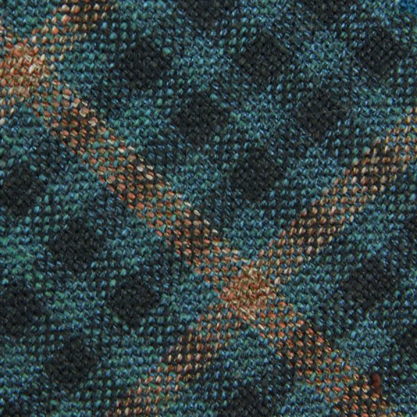 Checked Wool / Silk Bespoke Tie - Turquoise