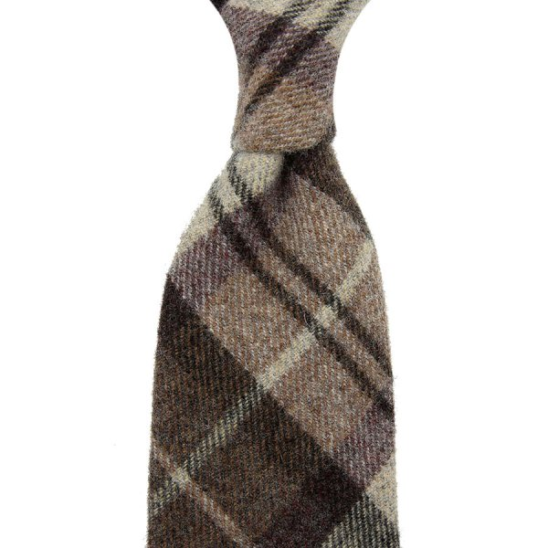 Vintage Fox Brothers Checked Wool Tie - Brown - Hand-Rolled