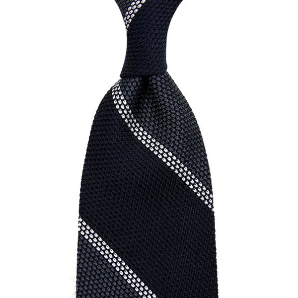 Block Stripe Grenadine / Garza Piccola Silk Tie - Navy / Grey / White