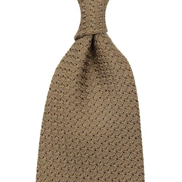 Grenadine / Garza Grossa Tie - Oatmeal - Handrolled