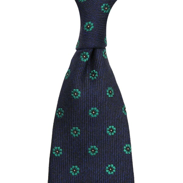 Floral Wool / Silk Tie - Forest - Hand-Rolled