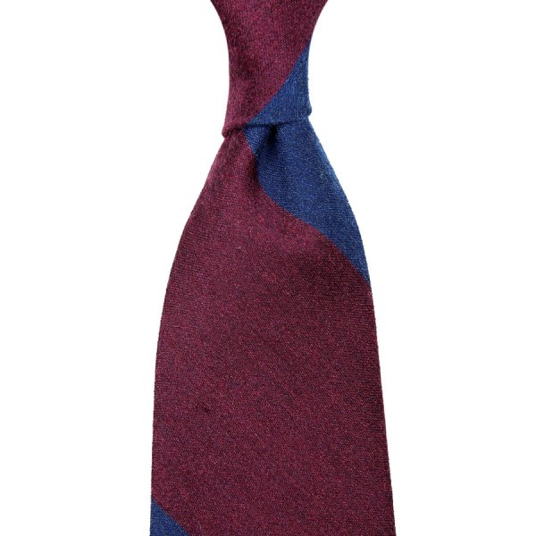 Block Stripe Silk / Cashmere Tie - Navy / Burgundy - Hand-Rolled