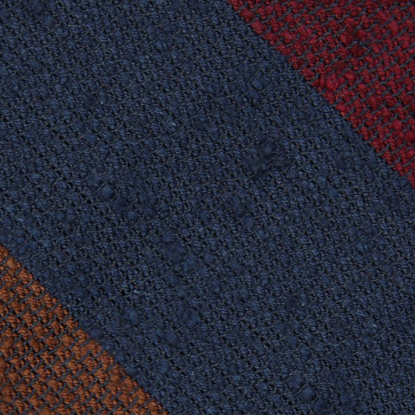 Triple Block Stripe Shantung Grenadine Bespoke Tie - Navy / Cherry / Brown