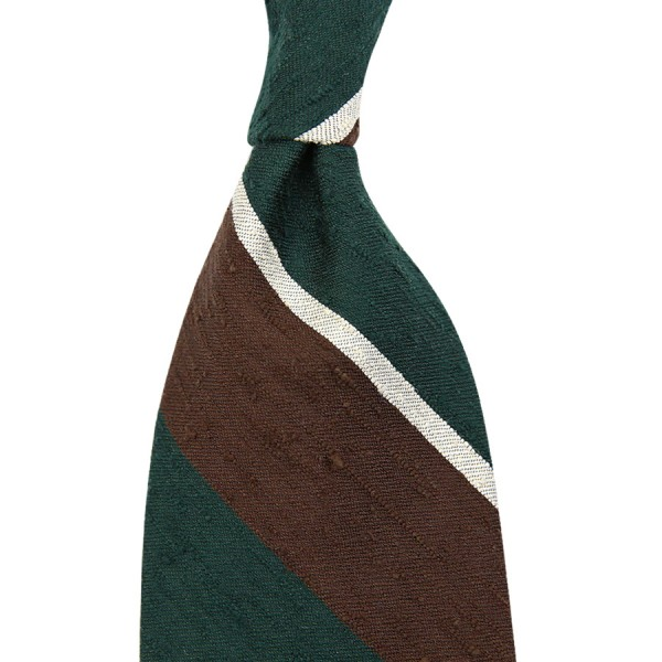 Striped Shantung Silk Tie - Chocolate / Forest / Ivory - Handrolled