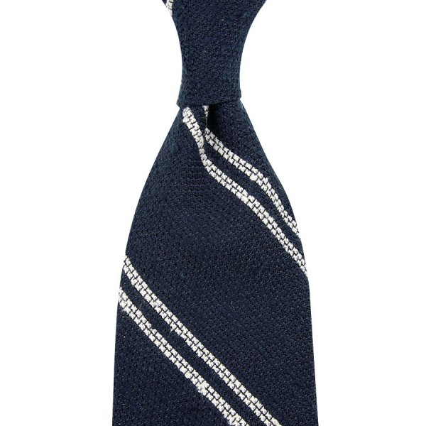 Double Bar Shantung Grenadine Tie - Navy - Hand-Rolled