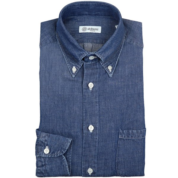 Denim Button Down Shirt - Mid Blue - Regular Fit