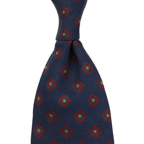 Floral Jacquard Tie - Midnight - Handrolled