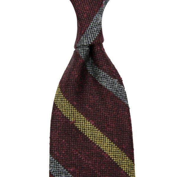Regimental Striped Wool Tie - Burgundy - Hand-Rolled