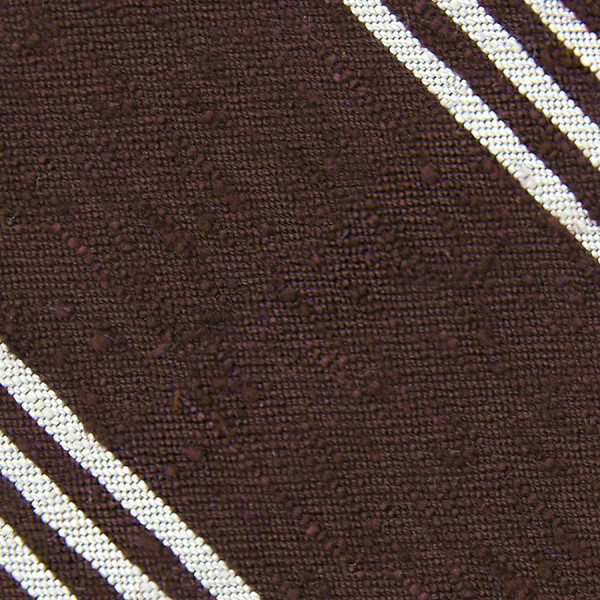 Triple Stripe Shantung Bespoke Tie - Brown