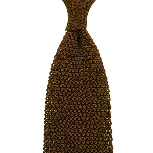 V-Point Knit Tie - Copper - Silk