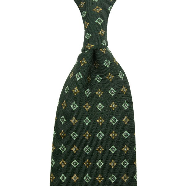 Floral Printed Wool Challis Tie - Madder Green - Hand-Rolled