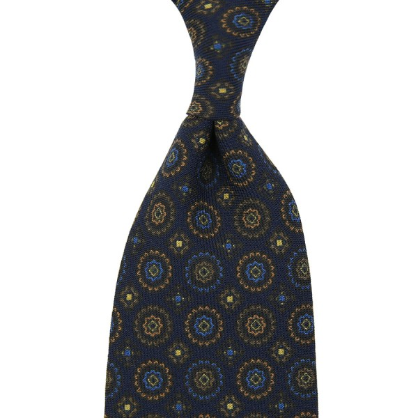 Floral Printed Wool Tie - Navy - Handrolled