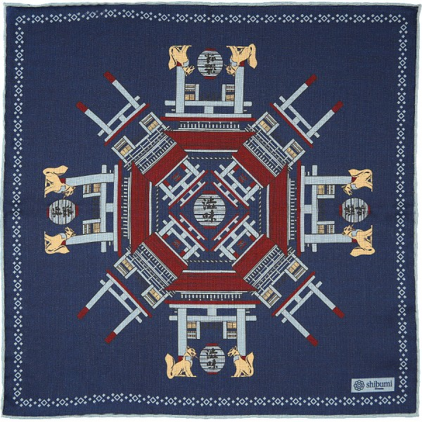 Temple Printed Wool / Silk Pocket Square - Navy - 40 x 40cm