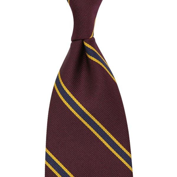 Repp Stripe Silk Tie - Wine / Navy - Handrolled - 160cm