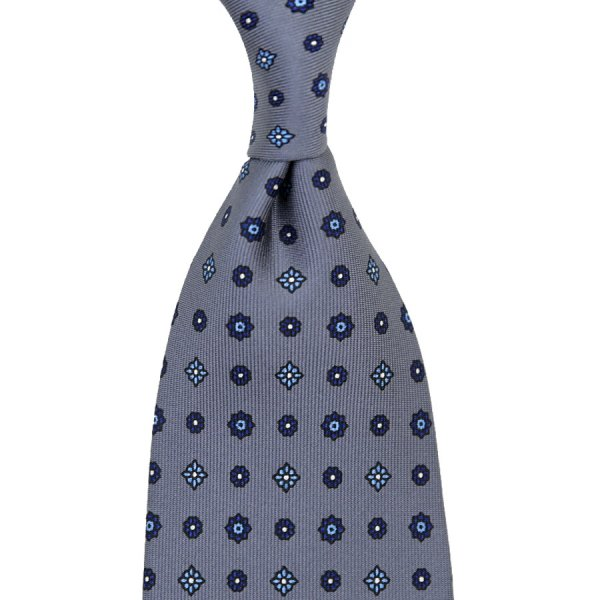 Floral Printed Silk Tie - Grey - Handrolled - 140cm