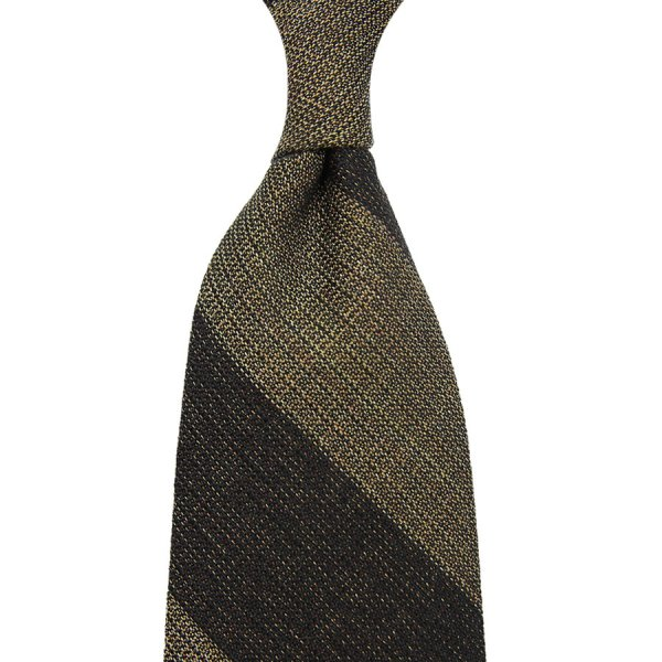 Block Stripe Grenadine Wool / Silk Tie - Chocolate / Beige