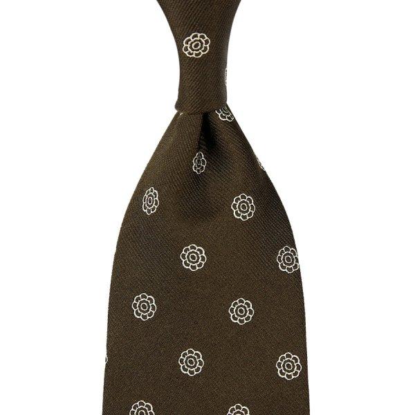 Shibumi-Flower Jacquard Silk Tie - Chocolate - Hand-Rolled