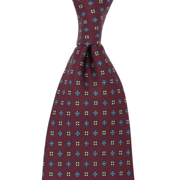 Floral Printed Silk Tie - Burgundy III - Handrolled