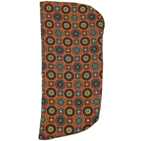 Floral Printed Silk Glasses Case - Rust