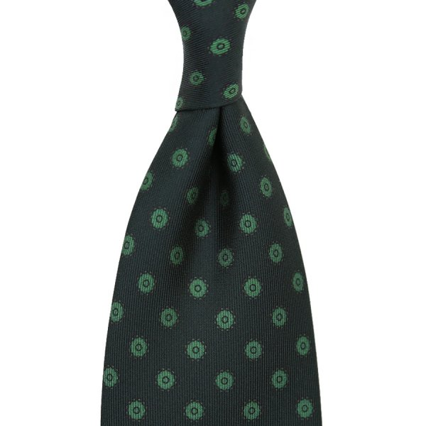 Shadow Printed Silk Tie - Bottle Green - Handrolled