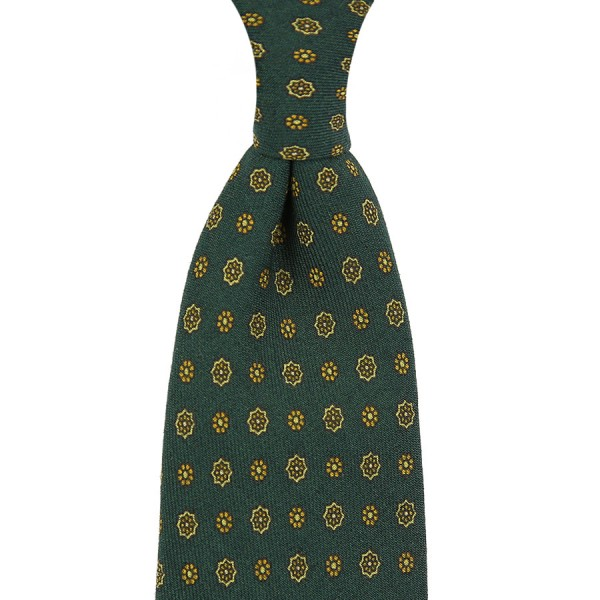 Floral Printed Wool Challis Tie - Forest - Handrolled