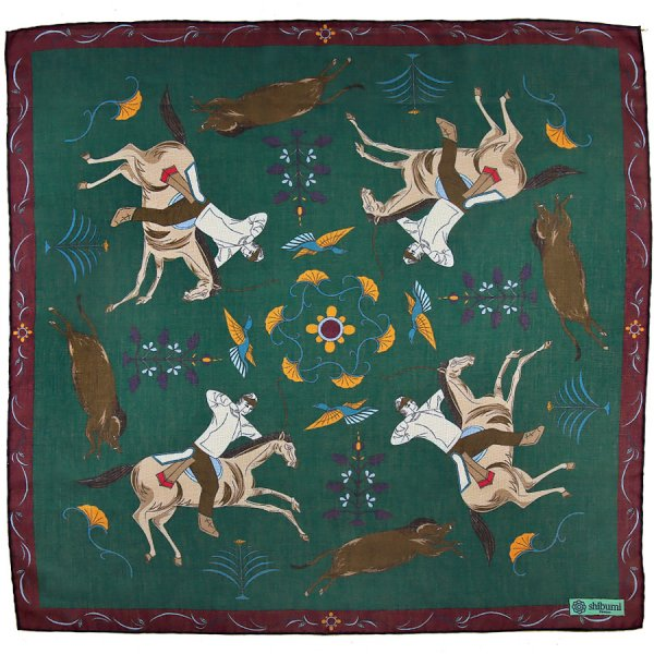 Japanese Hunter Cotton Blend Neckerchief - Forest - 60x60cm