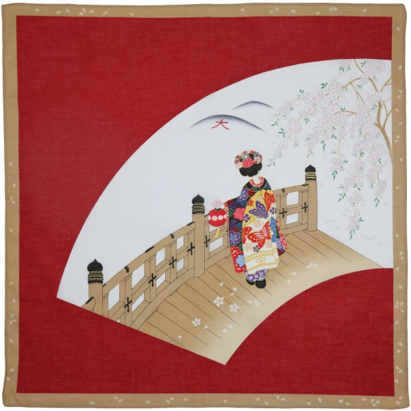 Ukiyo-e Motif Cotton Handkerchief - Red II