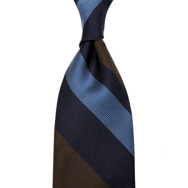 Super Repp Stripe Silk Tie - Navy / Sky / Brown - Hand-Rolled