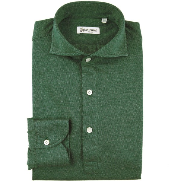 Long Sleeved Polo Shirt - Wide Spread - Forest Birdseye - Cotton / Cashmere - Regular Fit