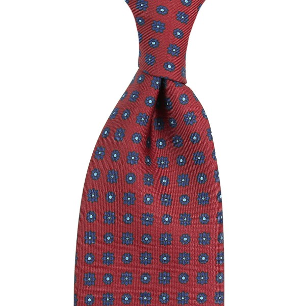 Floral Printed Silk Tie - Cherry - Handrolled