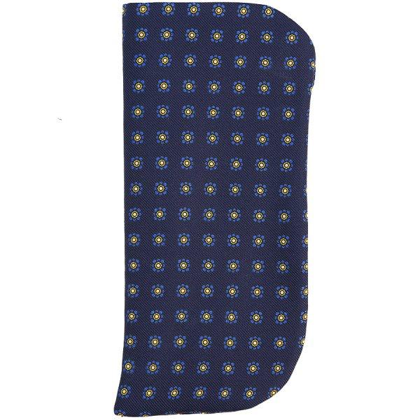 Shibumi-Flower Printed Silk Glasses Case - Navy