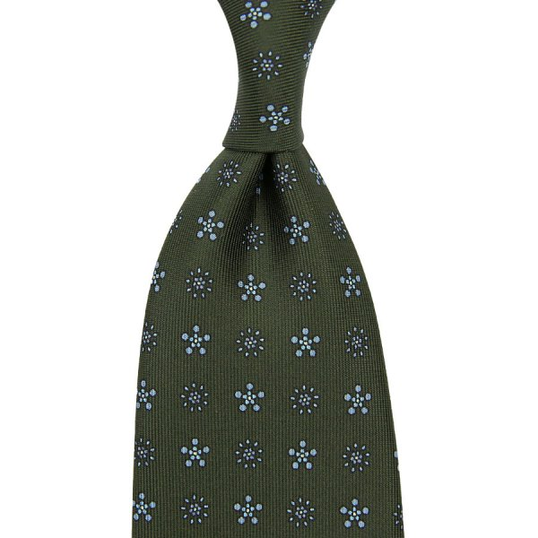 Floral Printed Silk Tie - Highland - Hand-Rolled