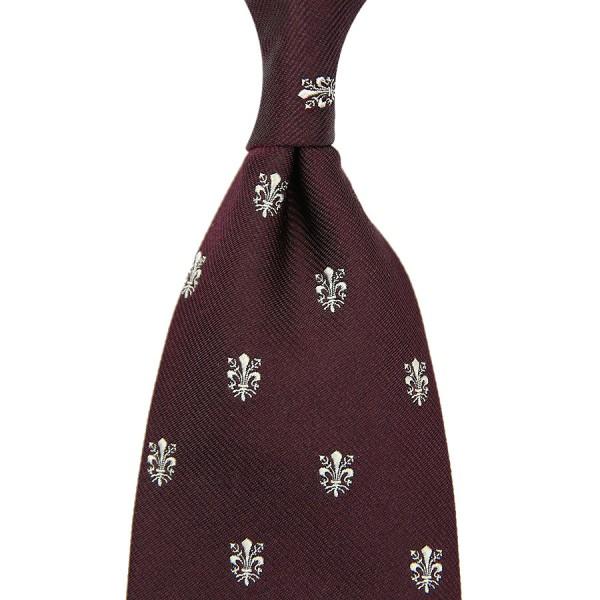 Giglio Di Firenze Silk Tie - Burgundy - Handrolled