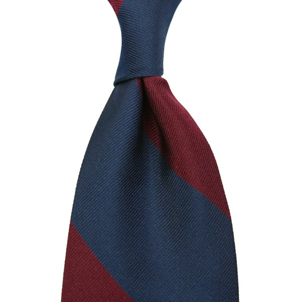 Block Stripe Silk Tie - Navy / Burgundy - Hand-Rolled