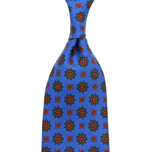 Ancient Madder Silk Tie - Madder Blue IV - Hand-Rolled