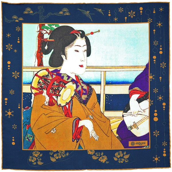Ukiyo-e Silk Pocket Square - Huyu Daiko - Handrolled - 40 x 40cm
