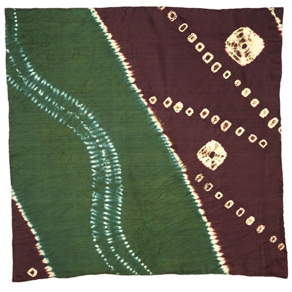 Vintage Kimono Silk Pocket Square - Purple / Green
