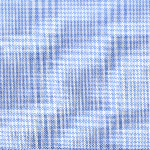 Poplin Made-To-Order Shirt - White / Sky Blue - Glen Check