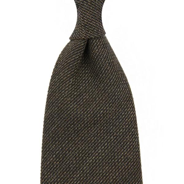 Smith Woollens Hopsack Wool Tie - Chocolate